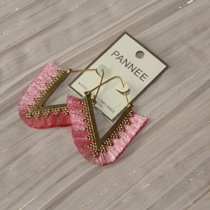 Trendy Rosé Fringe Dangle Earring